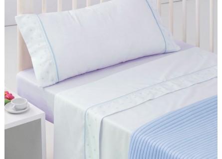 Nueva Zelanda cicatriz Puntualidad  Juego de sábanas de cuna Estrellas de Algodón en color blanco y azul Color  Azul Tamaño Cuna